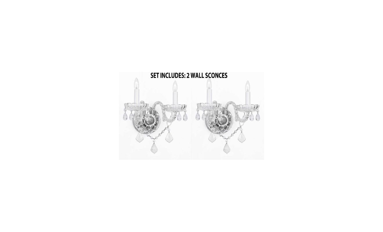Gallery T40-112 Murano Venetian 2 Light Crystal Double Sconce - Set of