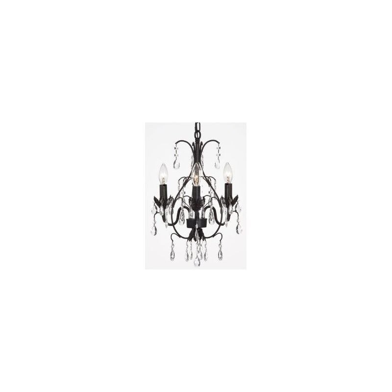 Gallery T40-151 Wrought Iron 3 Light 1 Tier Crystal Mini Chandelier - Sale $112.00 ITEM: bci2431966 ID#:T40-151 UPC: 738759832138 :