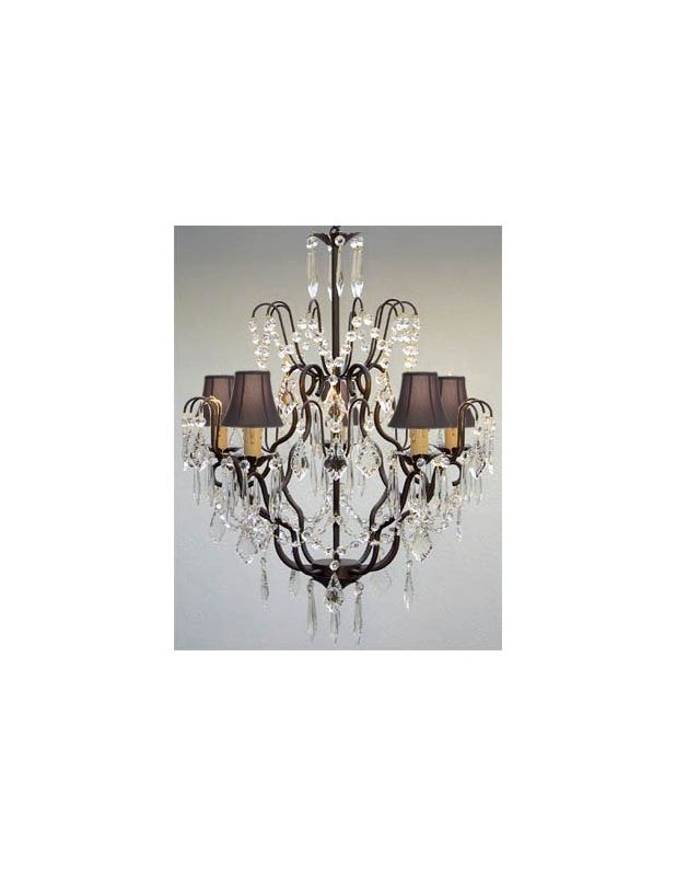 Gallery T40-162 Wrought Iron 5 Light 1 Tier Crystal Chandelier with Sale $219.98 ITEM: bci2431977 ID#:T40-162 UPC: 738759834668 :