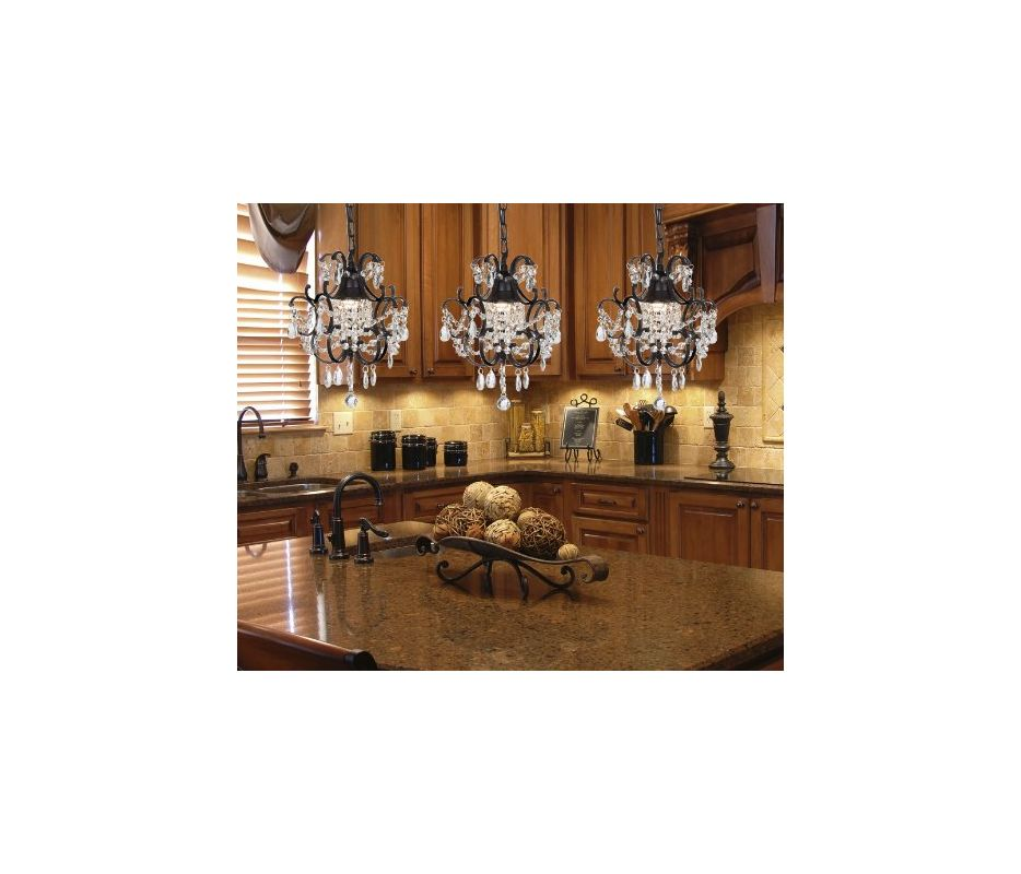 Gallery T40-185 Wrought Iron 1 Light 1 Tier Crystal Mini Chandelier