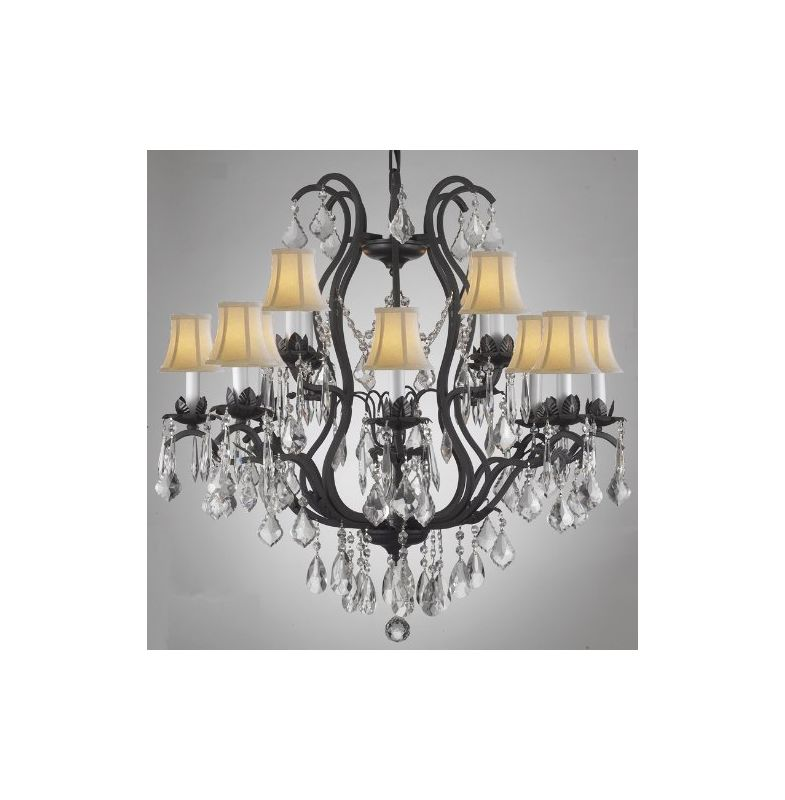 Gallery T40-202 Wrought Iron 12 Light 2 Tier Crystal Chandelier with