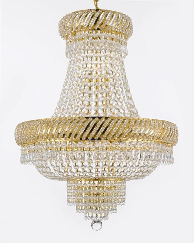 Gallery T40-312 French Empire 9 Light 1 Tier Crystal Chandelier with