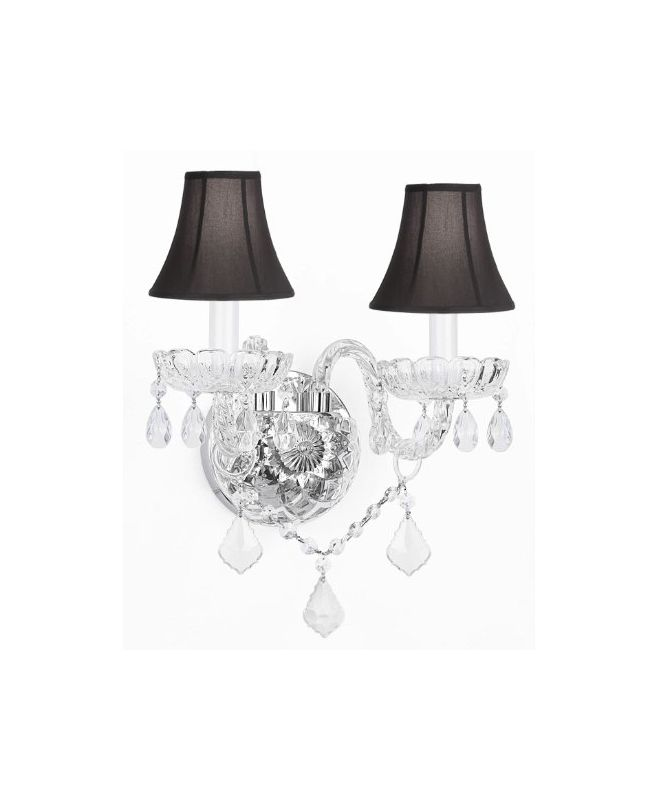 Gallery T40-334 Murano Venetian 2 Light Crystal Double Sconce Clear