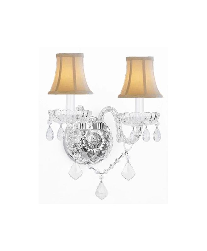 Gallery T40-347 Murano Venetian 2 Light Crystal Double Sconce Clear