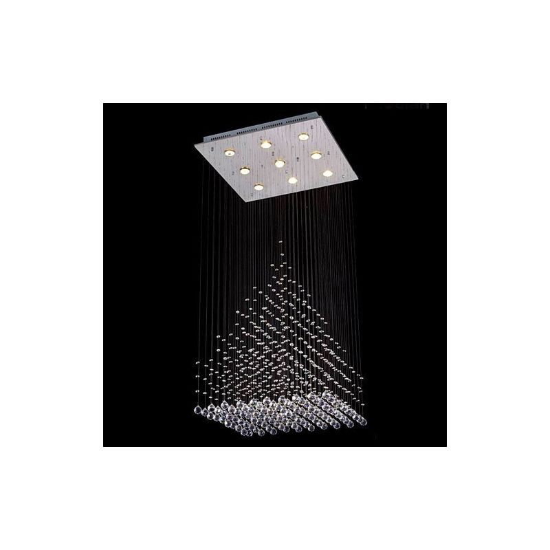 Gallery T40-404 Modern 9 Light 1 Tier Crystal Chandelier with Clear