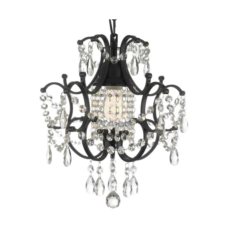 Gallery T40-429 Wrought Iron 1 Light 1 Tier Crystal Mini Chandelier
