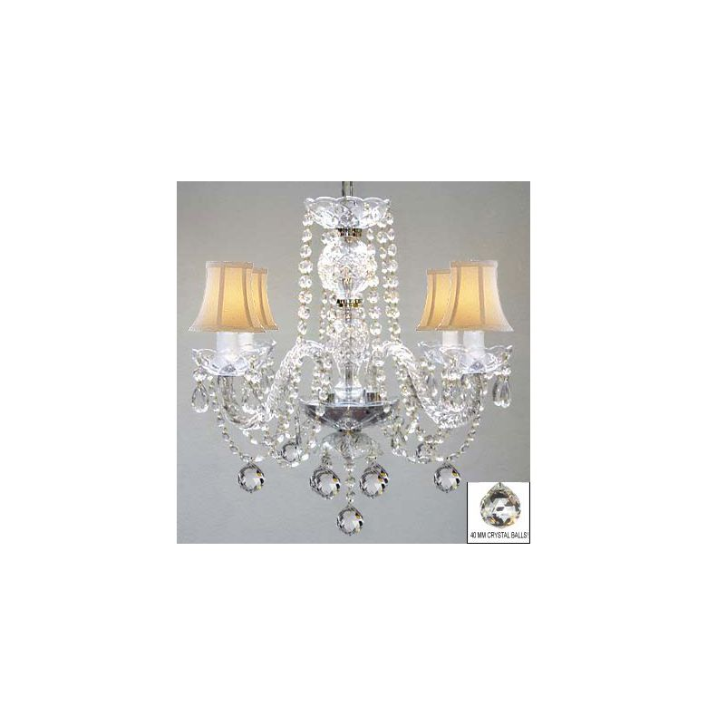 Gallery T40-534 Mini 4 Light 1 Tier Chandelier with White Shades and