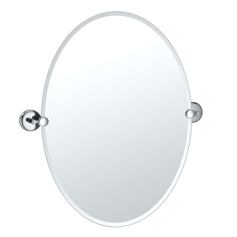 Gatco 5159 Vogue 19-1/2 Inch Oval Beveled Tilting Wall Mirror Chrome
