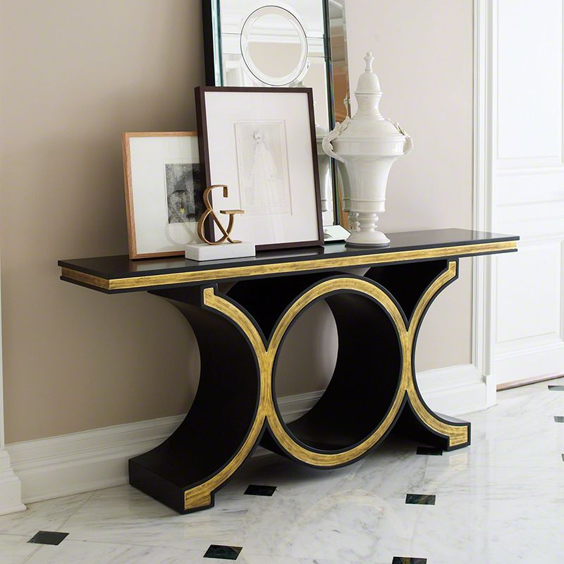 Global Views Link Console Table Wood Console Table Black and Gold Leaf