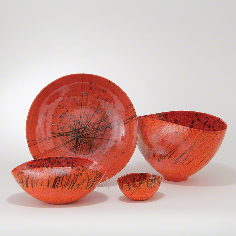 Global Views Bonfire Oval Bowl Murano Glass Bowl- Available in 3 Sizes