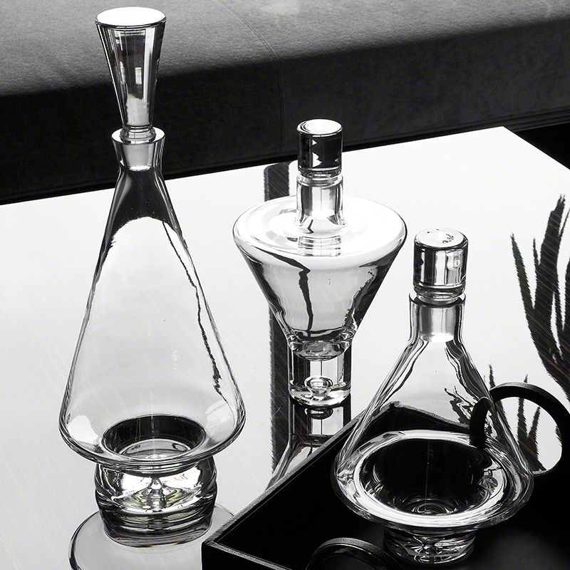Global Views Elegant Decanter Hand Blown Glass - Available in 3 Sizes