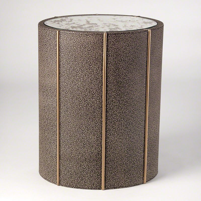Global Views 7.90325 Churchill Oval Drum Table Shagreen Leather
