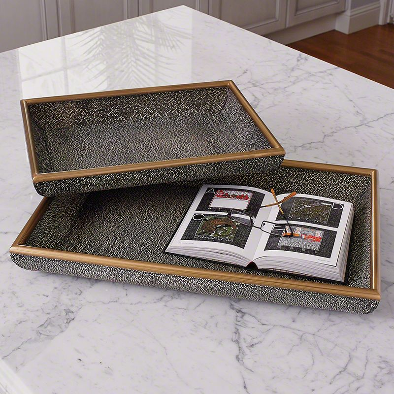 Global Views Shagreen Leather Tray - Available in 2 Sizes Small Tray