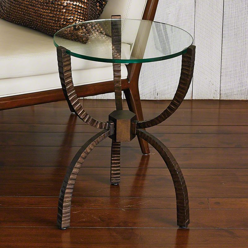 "Global Views 7.90385 18"" Teton Accent Iron Table Bronze Furniture End"