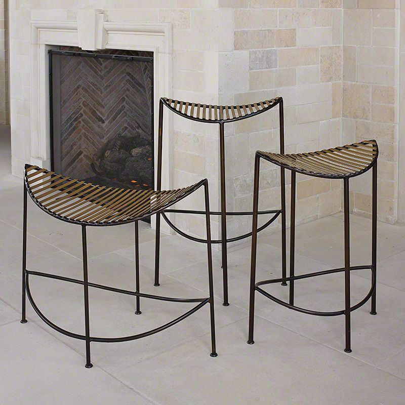 Global Views Moon Iron Stool - Available in 3 Sizes Long Stool