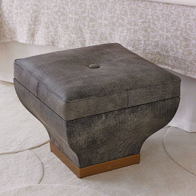 Global Views 7.90495 Churchill Rectangle Storage Ottoman with Faux