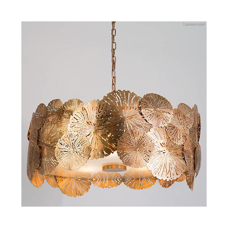 "Global Views 7.90563 Lily Pad 30"" Wide 5 Light Pendant with Frosted"
