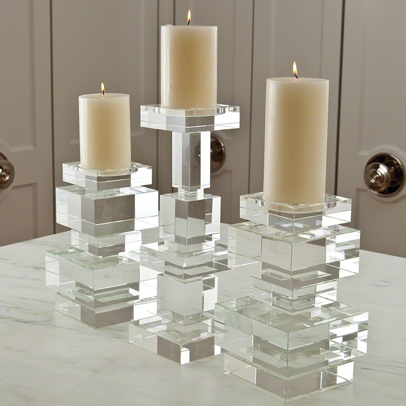 Global Views Brilliant Pillar Candle Holder - Available in 2 Sizes