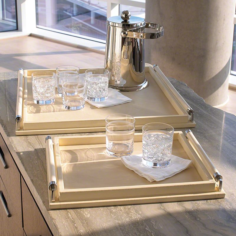 Global Views Wrapped Handle Leather Ivory Tray - Available in 2 Sizes