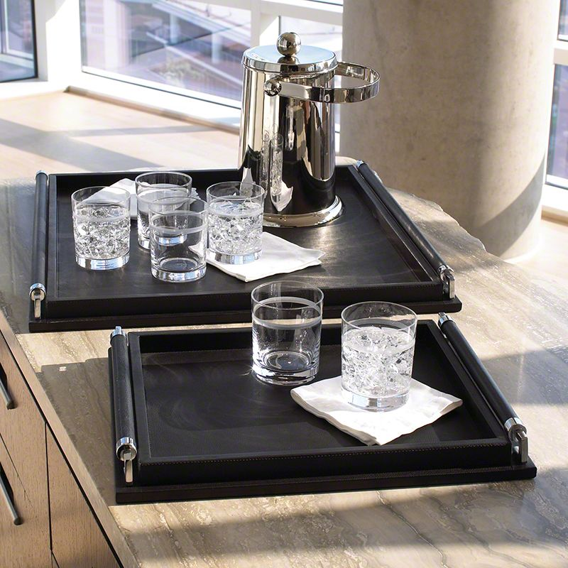 Global Views Wrapped Handle Leather Black Tray - Available in 2 Sizes