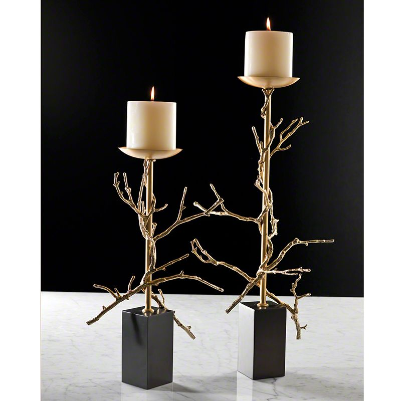 Global Views Twig Brass Candle Holder - Available in 2 Sizes Small