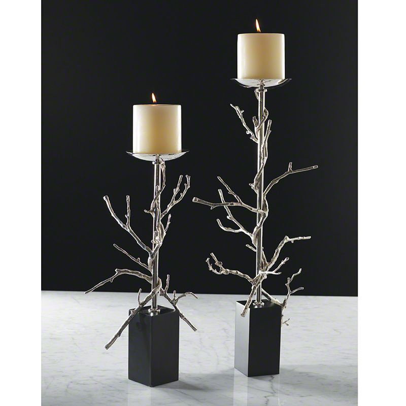 Global Views Twig Nickel Candle Holder - Available in 2 Sizes Large