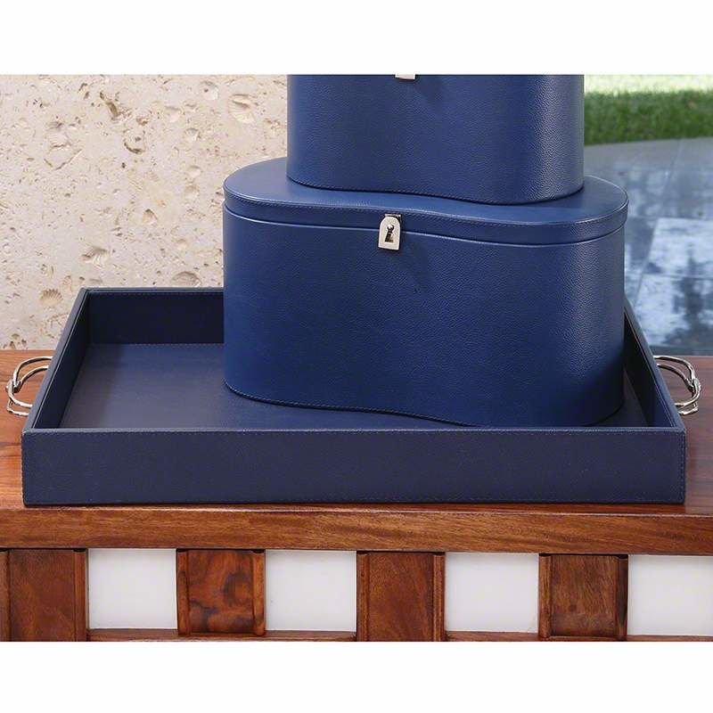 Global Views 9.92309 Midtown Leather Tray Blue Home Decor Decorative