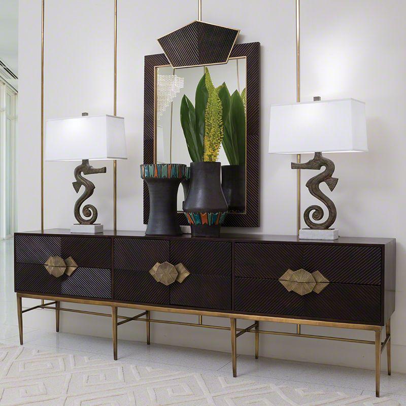 Global Views 9.92358 Galapagos Media Cabinet Dark Wood Furniture