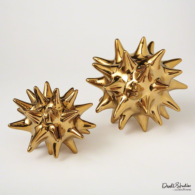 Global Views Bright Gold Urchin Statue - Available in 2 Sizes 5 Inch