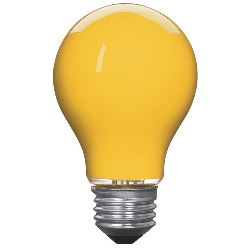 Globe Electric 2697701 Yellow 25 Watt A19 Incandescent Bug Light Bulb E26 Base