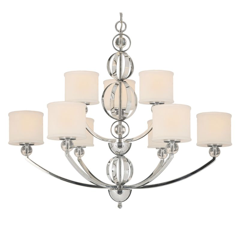 Golden Lighting 1030-9 CH Chrome Contemporary Cerchi Chandelier