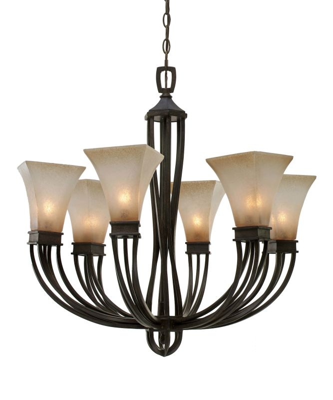 Golden Lighting 1850-6 Genesis 6 Light Chandelier Roan Timber Indoor