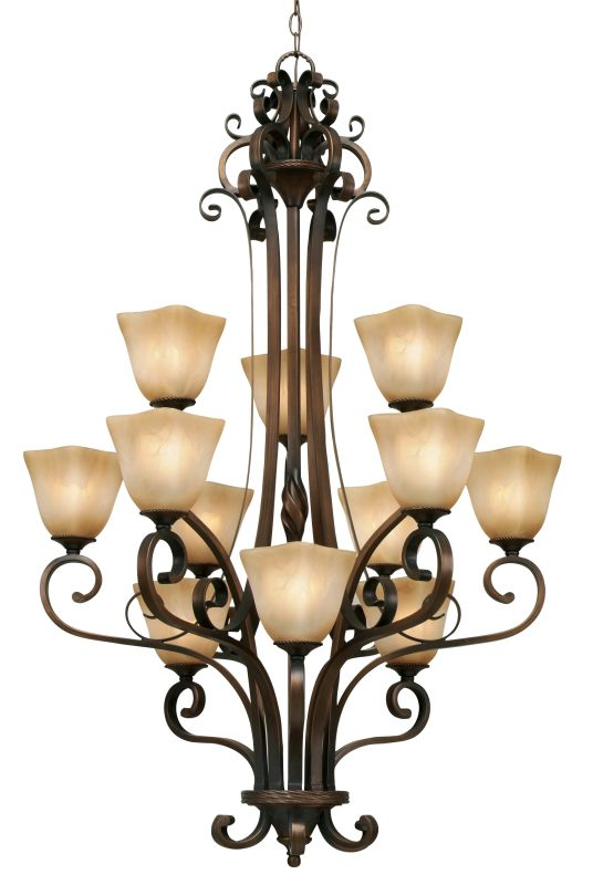 Golden Lighting 3890-363 Meridian 12 Light Chandelier Golden Bronze