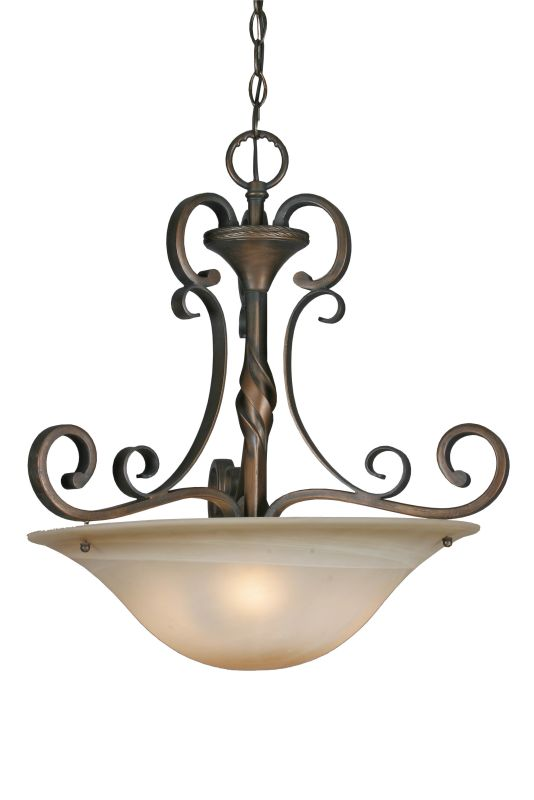 Golden Lighting 3890-3P Three Light Bowl Pendant from the Meridian