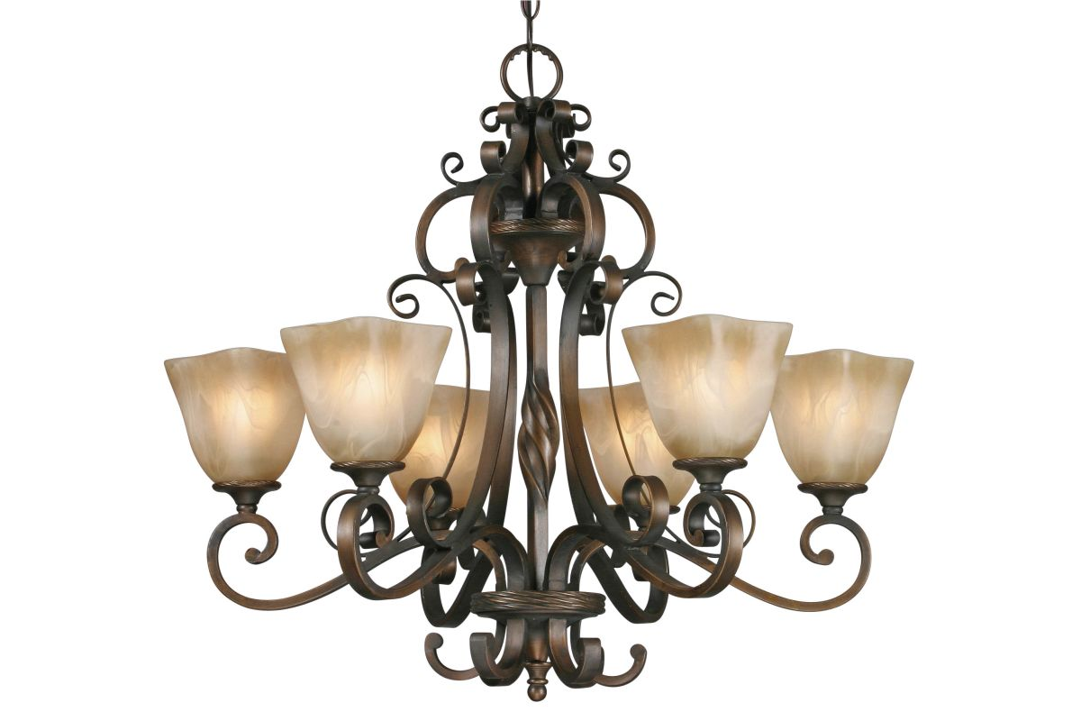 Golden Lighting 3890-6 Meridian 6 Light Chandelier Golden Bronze
