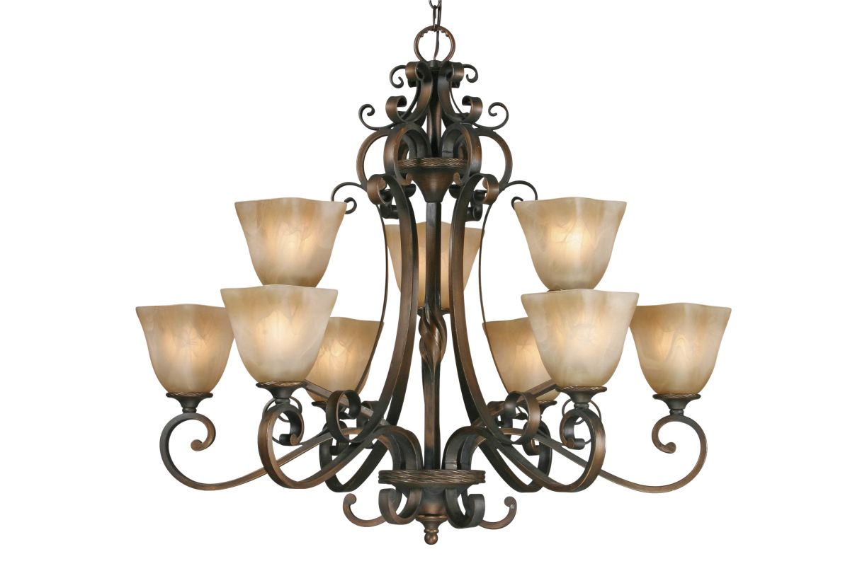 Golden Lighting 3890-9 Meridian 9 Light Chandelier Golden Bronze