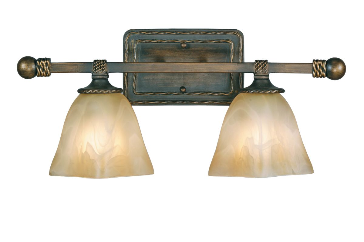 Golden Lighting 3890-BA2 Two Light Bathroom Fixture from the Meridian