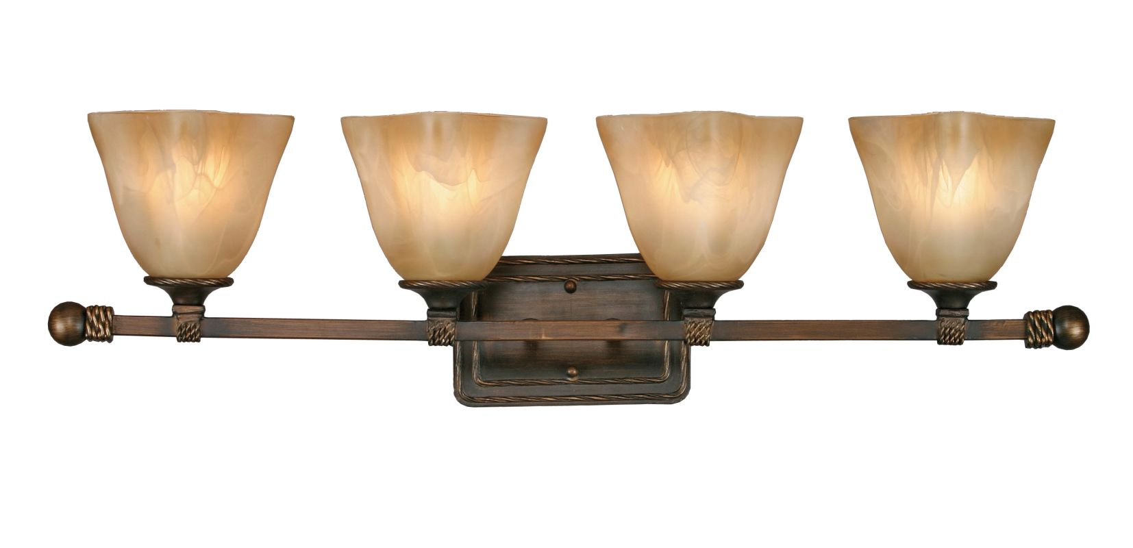 Golden Lighting 3890-BA4 Four Light Bathroom Fixture from the Meridian