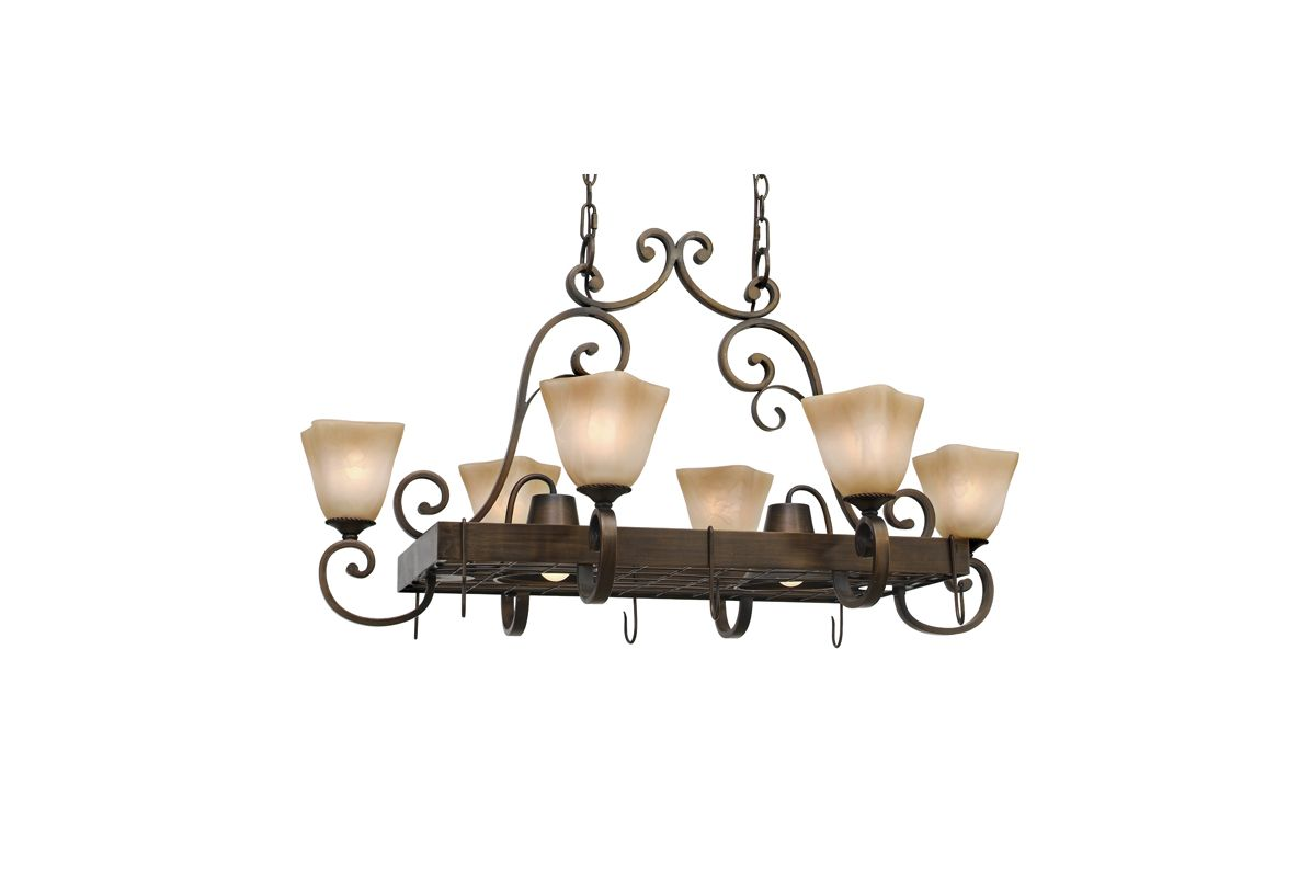 Golden Lighting 3890-PR62 Six Light Pot Rack from the Meridian