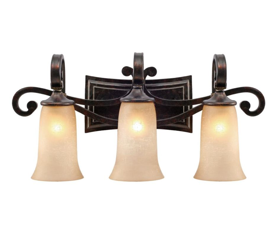 Golden Lighting 3966-BA3 Portland 3 Light Vanity Fired Bronze Indoor