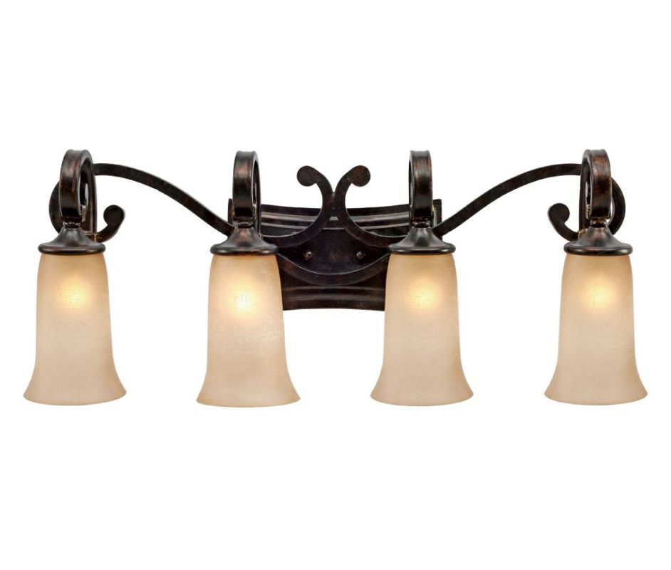 Golden Lighting 3966-BA4 Portland 4 Light Vanity Fired Bronze Indoor
