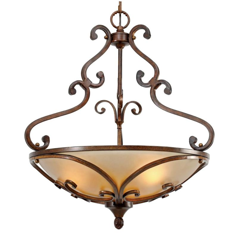 Golden Lighting 4002-3P Loretto Pendant Bowl Russet Bronze Indoor