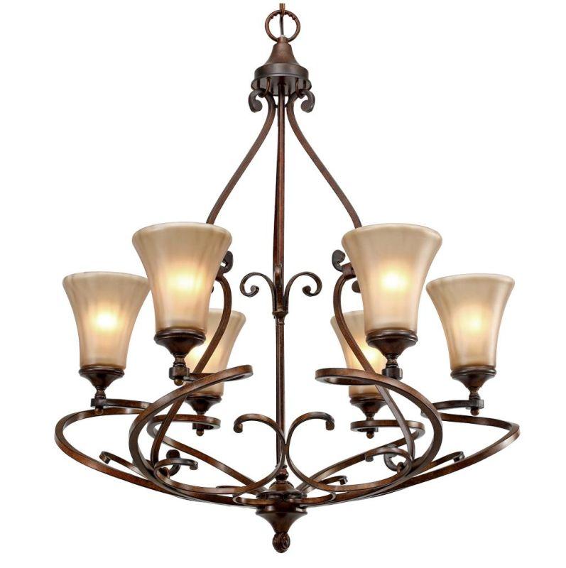 Golden Lighting 4002-6 Loretto 6 Light Chandelier Russet Bronze Indoor