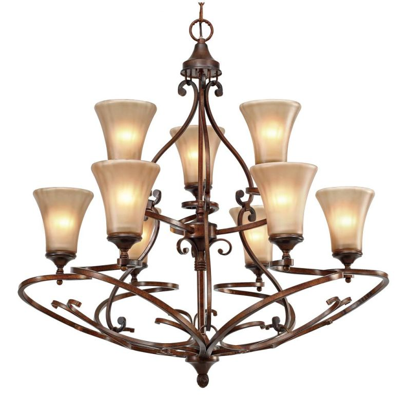 Golden Lighting 4002-9 Loretto 9 Light Chandelier Russet Bronze Indoor