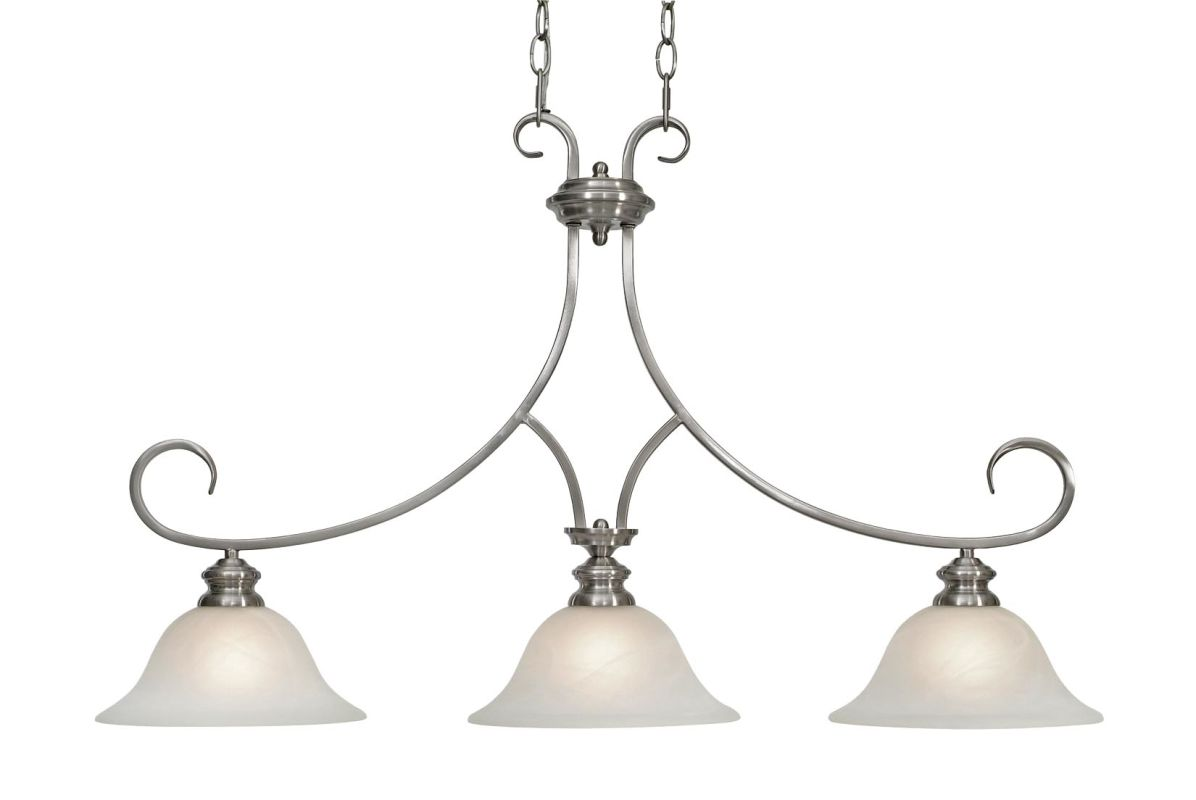 Golden Lighting 6005-10 Lancaster 3 Light Linear Chandelier Pewter