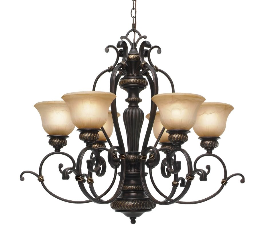 Golden Lighting 6029-6 Jefferson 6 Light Chandelier Etruscan Bronze