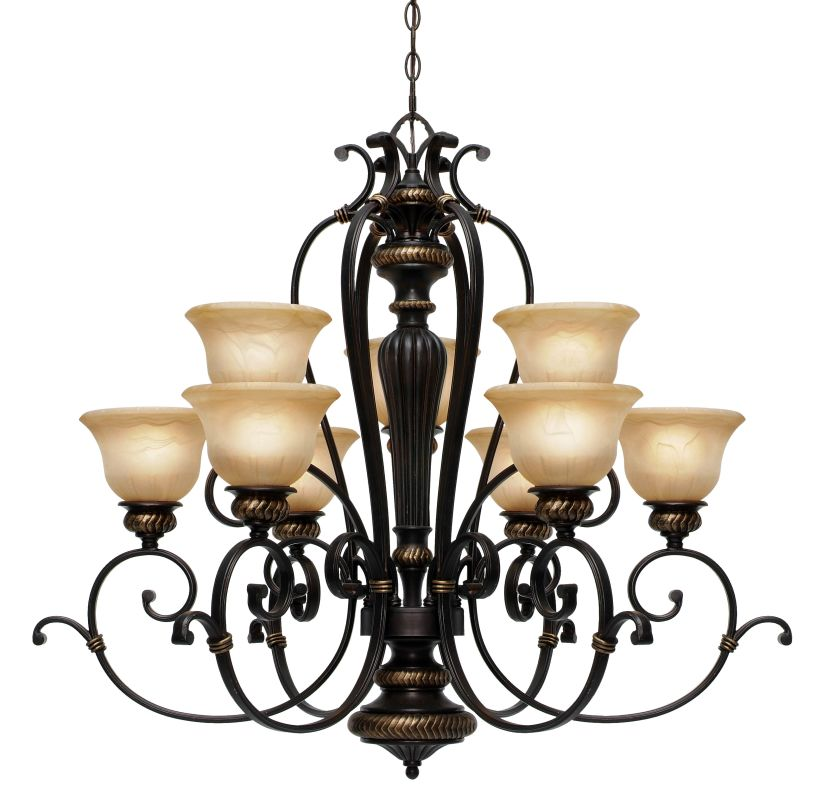 Golden Lighting 6029-9 Jefferson 9 Light Chandelier Etruscan Bronze