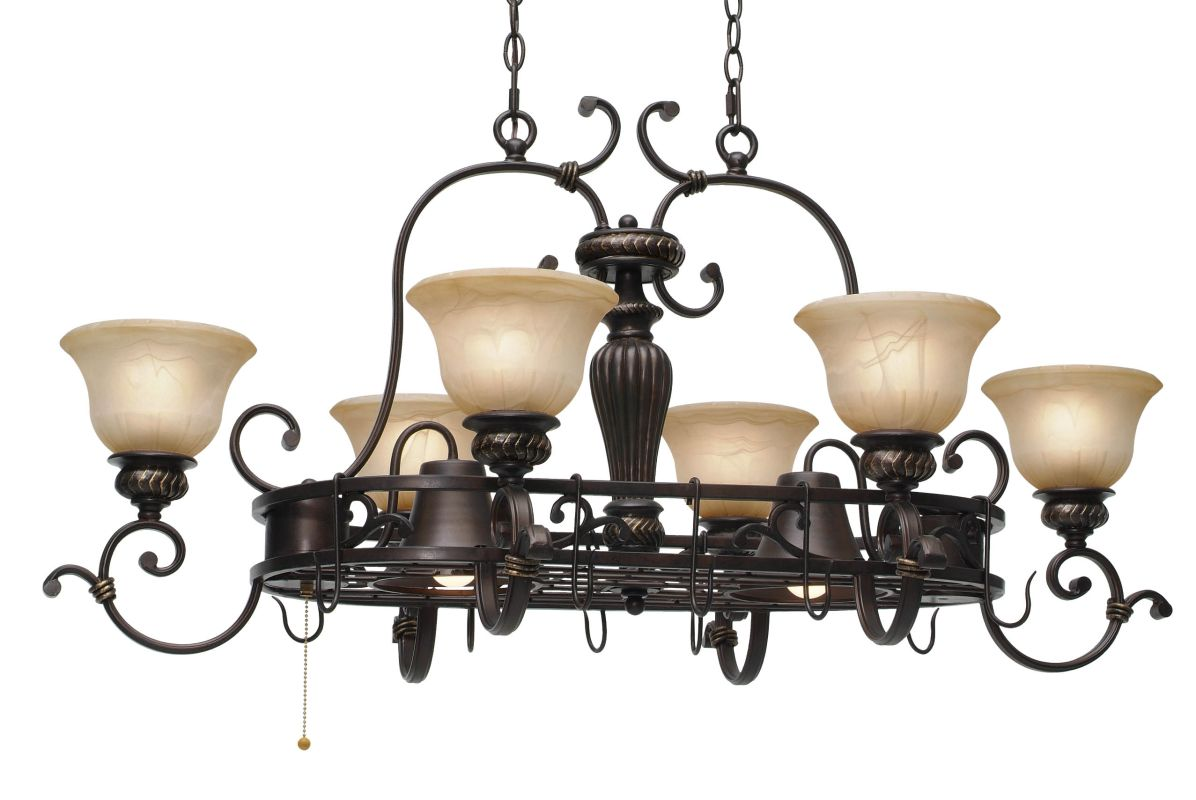 Golden Lighting 6029-PR62 Six Light Pot Rack from the Jefferson
