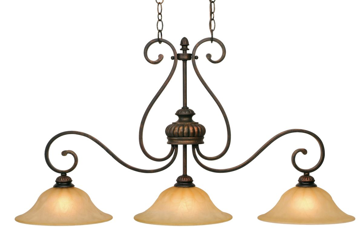 Golden Lighting 7116-10 Mayfair 3 Light Linear Chandelier Leather
