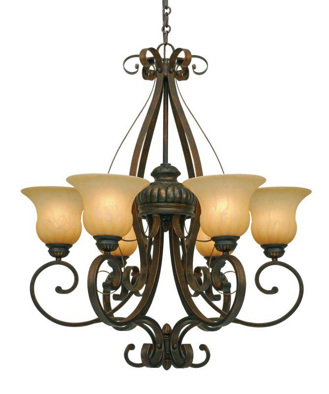 Golden Lighting 7116-6 Mayfair 6 Light Chandelier Leather Crackle